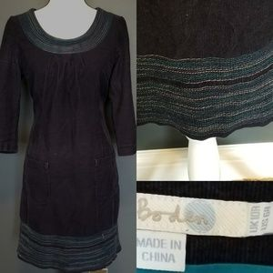 BODEN Navy Blue Corduroy Embroidered dress